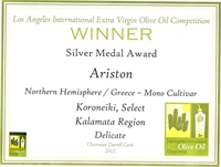 Ariston LA Silver Award Certificate